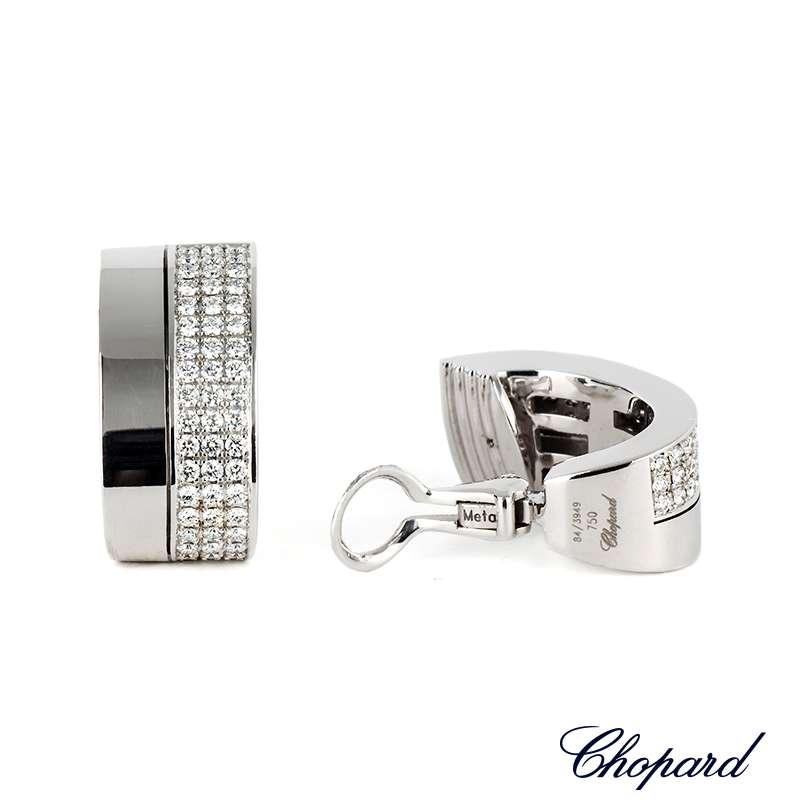 Chopard 18k White Gold Diamond Pave Earrings 84/3949-1001